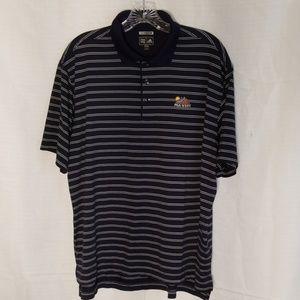 Men's Adidas PGA west collor stripe shirt navy bl